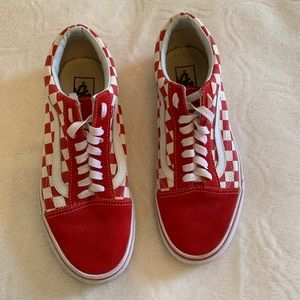 Red primary check old school vans